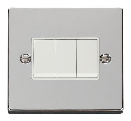 Polished Chrome 10A 3 Gang 2 Way Light Switch - White Trim