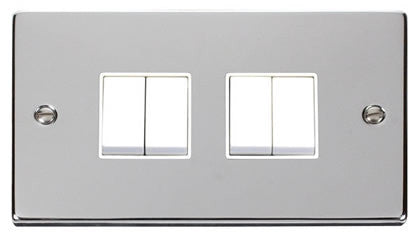 Polished Chrome 10A 4 Gang 2 Way Light Switch - White Trim