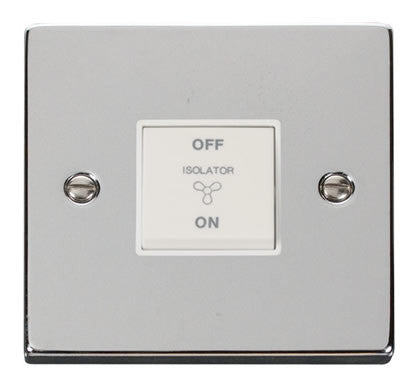Polished Chrome 10A 3 Pole Fan Isolation Switch - White Trim