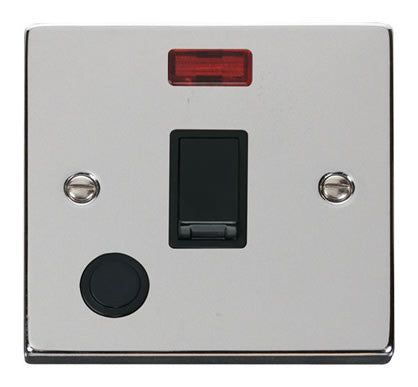 Polished Chrome 1 Gang 20A DP Switch With Flex With Neon - Black Trim