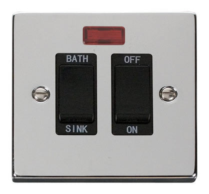 Polished Chrome 20A DP Sink/bath Switch - Black Trim