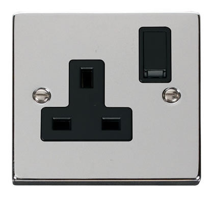 Polished Chrome 1 Gang 13A DP Switched Plug Socket - Black Trim