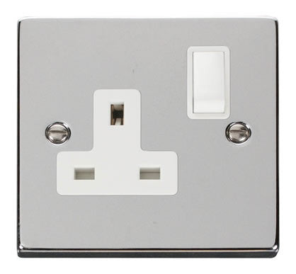 Polished Chrome 1 Gang 13A DP Switched Plug Socket - White Trim