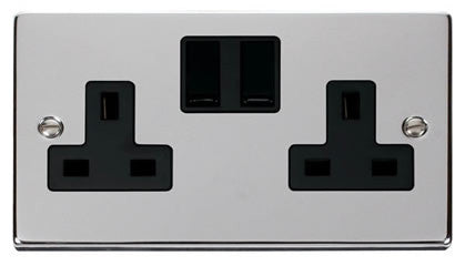 Polished Chrome 2 Gang 13A Twin Double Switched Plug Socket - Black Trim