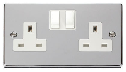 Polished Chrome 2 Gang 13A Twin Double Switched Plug Socket - White Trim