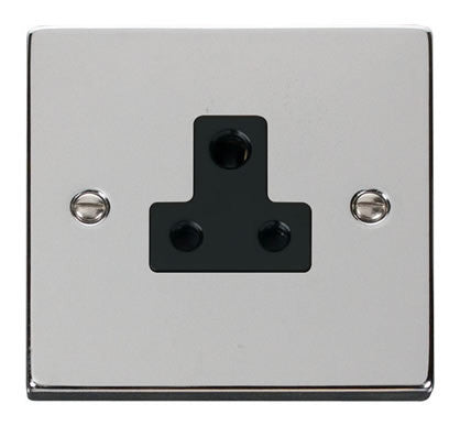 Polished Chrome 1 Gang 5A Round Pin Plug Socket - Black Trim