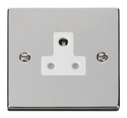 Polished Chrome 1 Gang 5A Round Pin Plug Socket - White