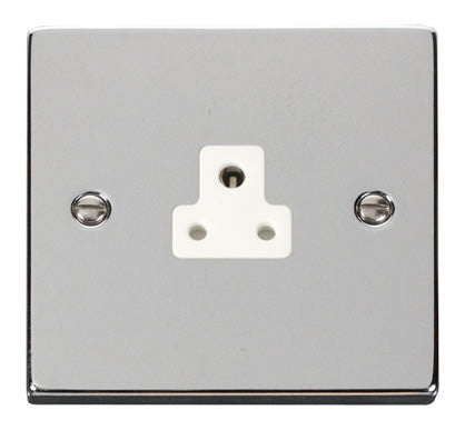 Polished Chrome 1 Gang 2A Round Pin Plug Socket - White Trim
