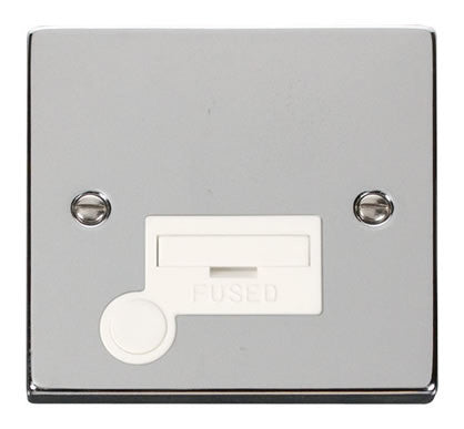 Polished Chrome 13A Fused Connection Unit With Flex - White Trim