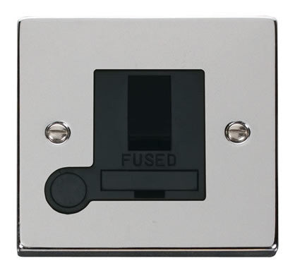 Polished Chrome 13A Fused Connection Unit Switched With Flex - Black Trim