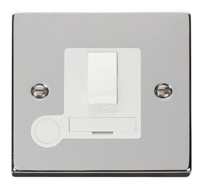 Polished Chrome 13A Fused Connection Unit Switched With Flex - White Trim
