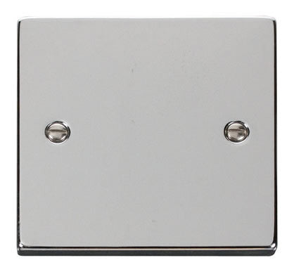 Polished Chrome 1 Gang Blank Plate - White