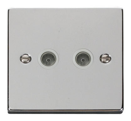 Polished Chrome 2 Gang Twin Coaxial TV Socket - White Trim