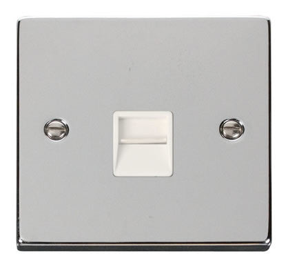 Polished Chrome Master Telephone Single Socket - White Trim