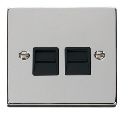 Polished Chrome Master Telephone Twin Socket - Black Trim