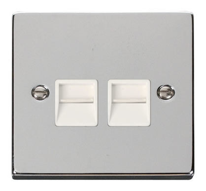 Polished Chrome Master Telephone Twin Socket - White Trim