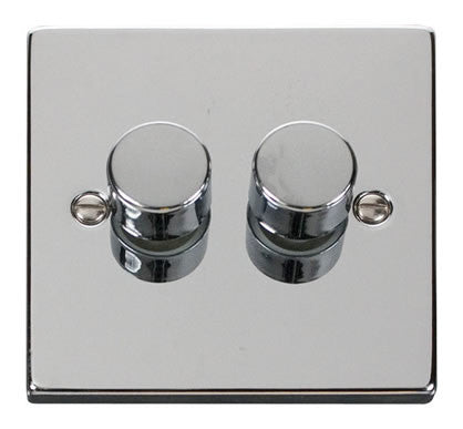 Polished Chrome 2 Gang 2 Way 400w Dimmer Light Switch