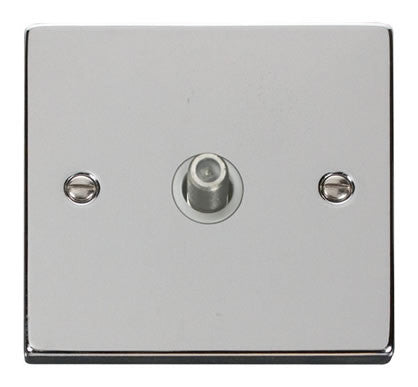 Polished Chrome Satellite Socket 1 Gang - White Trim