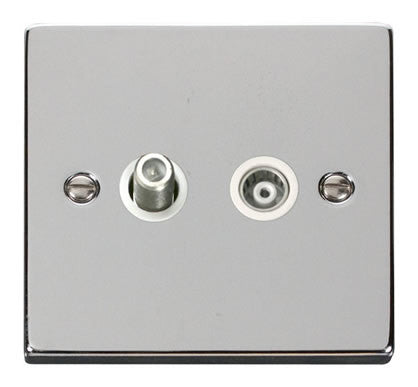 Polished Chrome Satellite And Isolated Coaxial 1 Gang Socket - White Trim