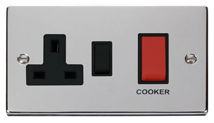 Polished Chrome Cooker Control 45A With 13A Switched Plug Socket - Black Trim