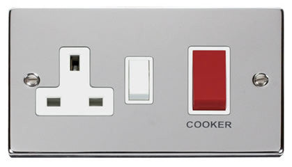 Polished Chrome Cooker Control 45A With 13A Switched Plug Socket - White Trim