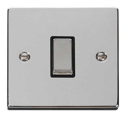 Polished Chrome 10A 1 Gang 2 Way Ingot Light Switch - Black Trim