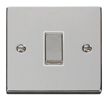 Polished Chrome 10A 1 Gang 2 Way Ingot Light Switch - White Trim