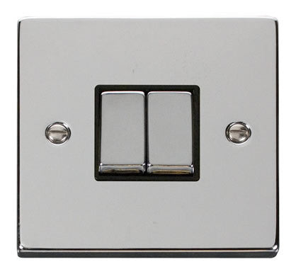 Polished Chrome 10A 2 Gang 2 Way Ingot Light Switch - Black Trim