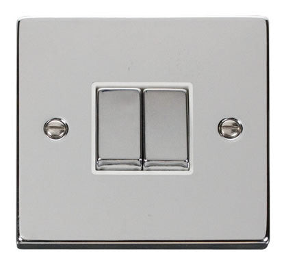 Polished Chrome 10A 2 Gang 2 Way Ingot Light Switch - White Trim