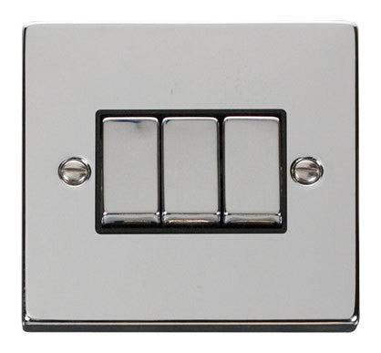 Polished Chrome 10A 3 Gang 2 Way Ingot Light Switch - Black Trim