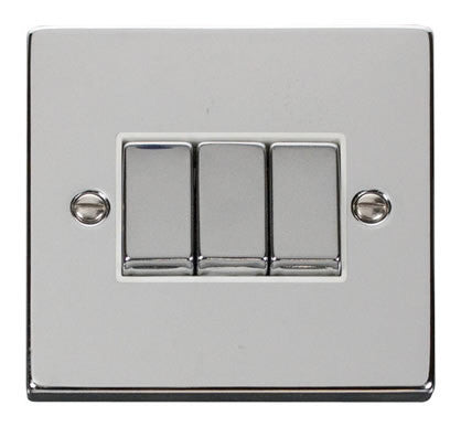 Polished Chrome 10A 3 Gang 2 Way Ingot Light Switch - White Trim