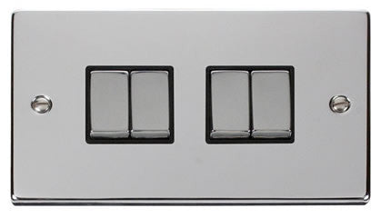 Polished Chrome 10A 4 Gang 2 Way Ingot Light Switch - Black Trim