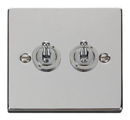 Polished Chrome 2 Gang 2 Way 10AX Toggle Light Switch