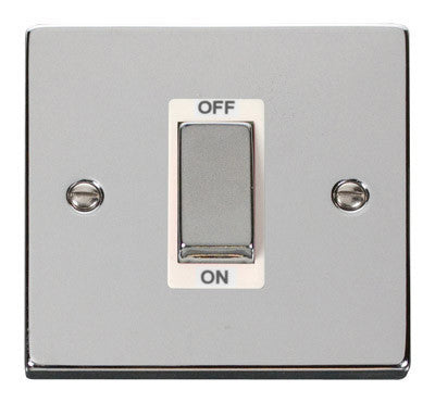 Polished Chrome 1 Gang Ingot Size 45A Switch - White Trim