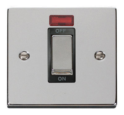 Polished Chrome 1 Gang Ingot Size 45A Switch With Neon - Black Trim