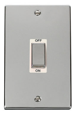 Polished Chrome 2 Gang Ingot Size 45A Switch - White Trim
