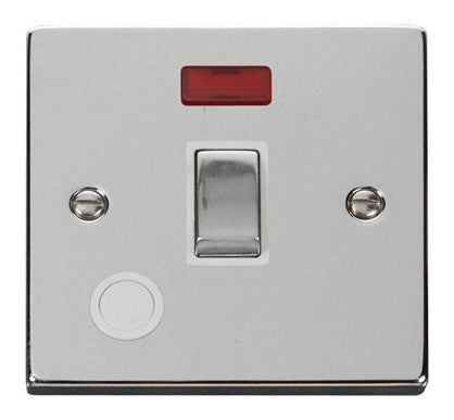 Polished Chrome 1 Gang 20A Ingot DP Switch With Flex With Neon - White Trim