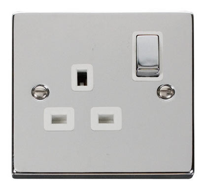 Polished Chrome 1 Gang 13A DP Ingot Switched Plug Socket - White Trim