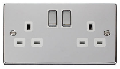 Polished Chrome 2 Gang 13A DP Ingot Twin Double Switched Plug Socket - White Trim