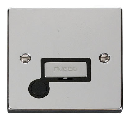 Polished Chrome 13A Fused Ingot Connection Unit With Flex - Black Trim