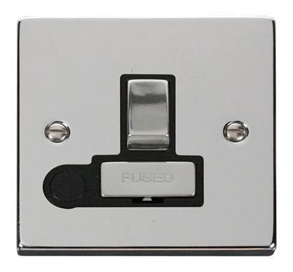Polished Chrome 13A Fused Ingot Connection Unit Switched With Flex - Black Trim