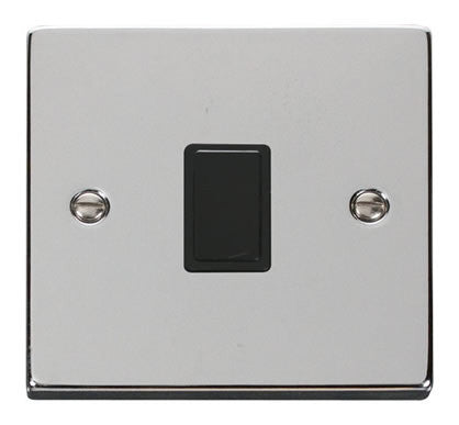 Polished Chrome 1 Gang 20A DP Switch - Black Trim