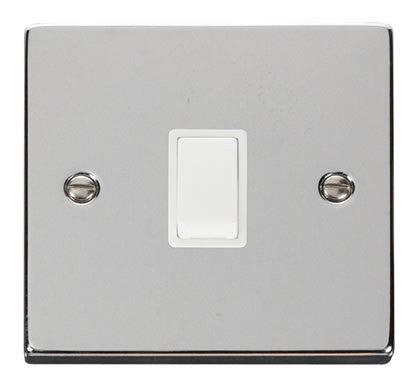 Polished Chrome 1 Gang 20A DP Switch - White Trim