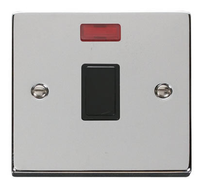 Polished Chrome 1 Gang 20A DP Switch With Neon - Black Trim