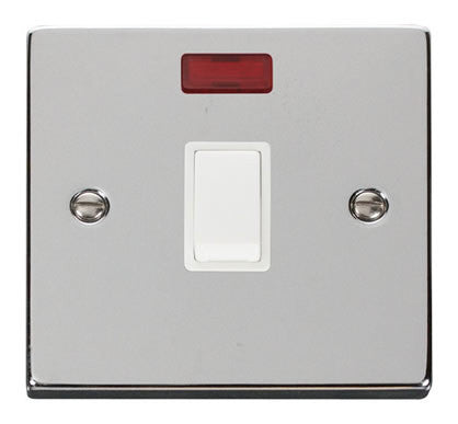 Polished Chrome 1 Gang 20A DP Switch With Neon - White Trim