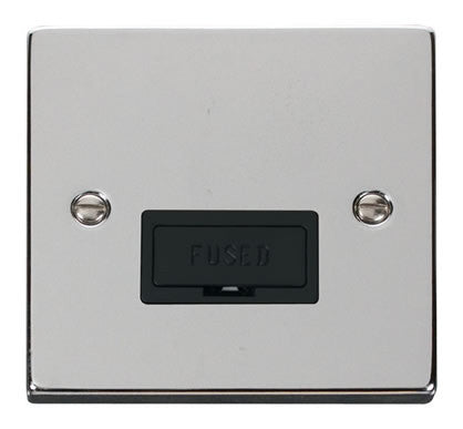 Polished Chrome 13A Fused Connection Unit - Black Trim