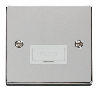 Polished Chrome 13A Fused Connection Unit - White Trim