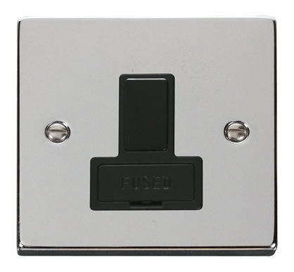 Polished Chrome 13A Fused Connection Unit Switched - Black Trim