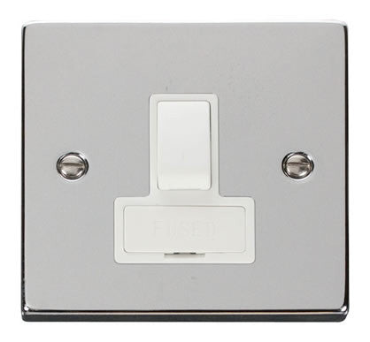 Polished Chrome 13A Fused Connection Unit Switched - White Trim