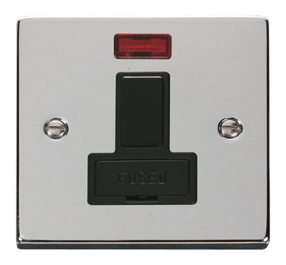 Polished Chrome 13A Fused Connection Unit Switched With Neon - Black Trim